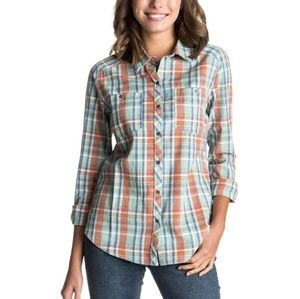 Roxy Sneaky Peaks Plaid Long Sleeve Button Down